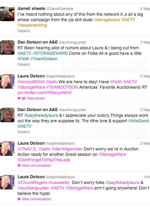 Darrell Sheets Dan Dotson and Laura Dotson tweet about rumors that they were fired from Storage Wars