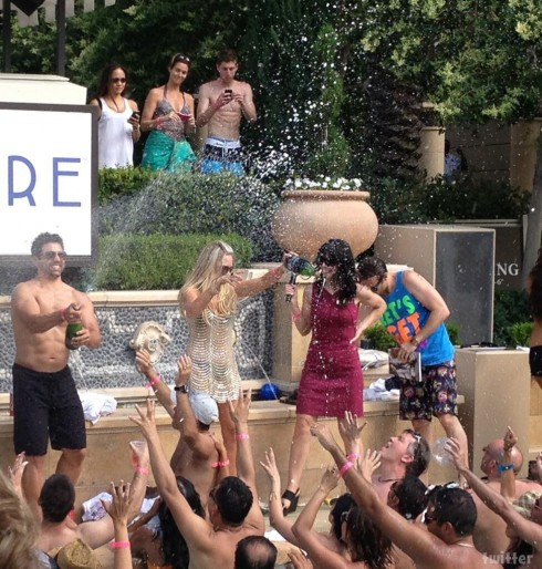 Eddie Judge Champagne Shower Azure Pool Las Vegas