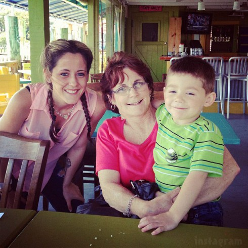 Jenelle Evans with mother Barbara Evans and son Jace Evans