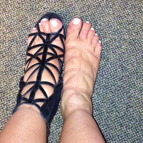 Pregnant Kim Kardashian swollen feet Givenchy birdcage booties