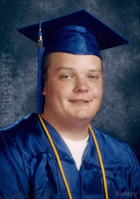Old photo of Pawn Stars Corey Harrison from high school graduation I think