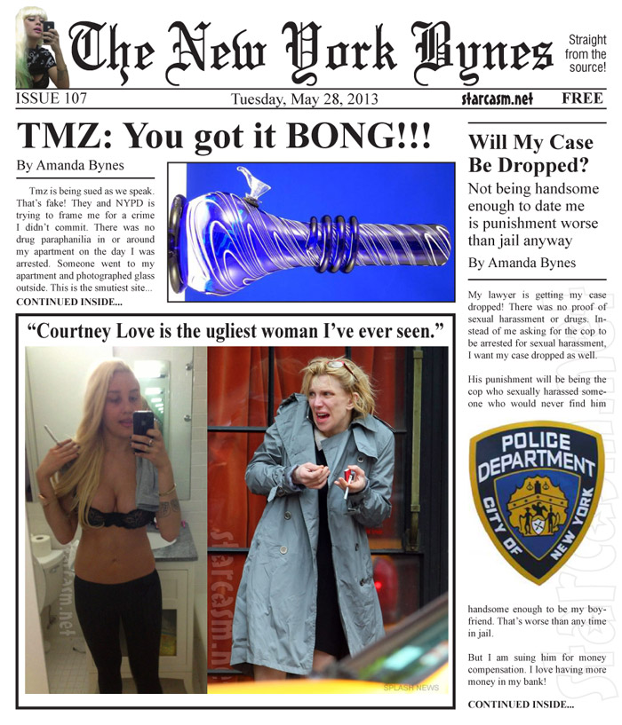 Amanda Bynes newspaper The New York Bynes with Courtney Love TMZ and more