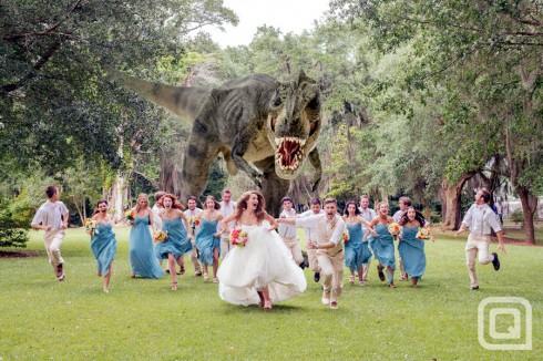 T Rex wedding photo with a Tyrannosaurus Rex dinosaur