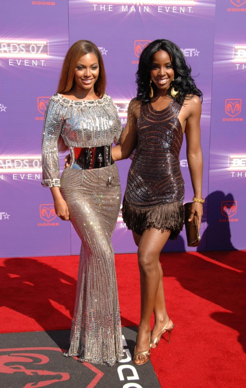 Beyonce Knowles and Kelly Rowland at the B.E.T. Awards 2007 held at The Shrine in Los Angeles, California on June 26, 2007.  (Photo: Dimitri Halkidis / WENN)