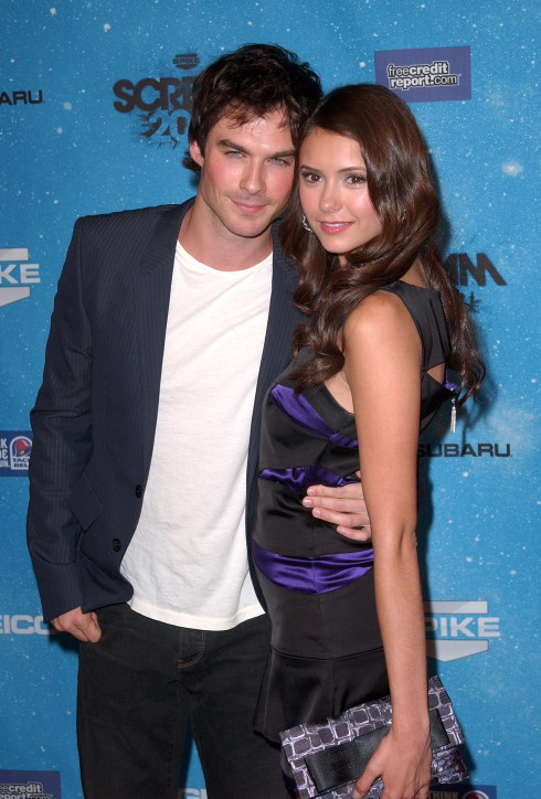 Ian Somerhalder and Nina Dobrev attend Spike TV's 2009 Scream Awards held at the Greek Theatre in Los Angeles, California in October 17, 2009.