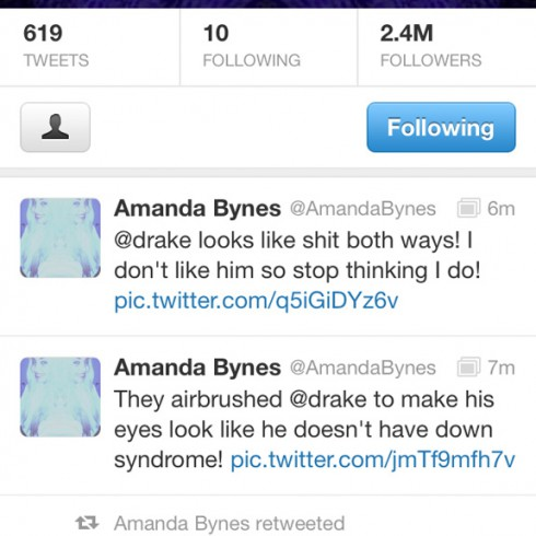 Amanda Bynes tweets Drake looks like sh!t and is airbrushed to not look like he has down syndrome