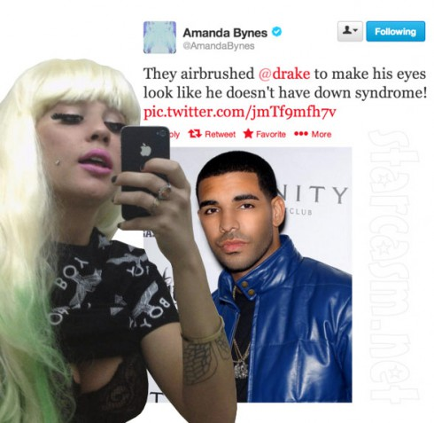 Amanda Bynes tweets that Drake's eyes are airbrushed so that he doesn't look like he has down syndrome