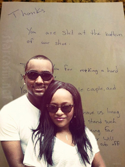 Bobbi Kristina Nick Gordon alleged angry letter written after eviction