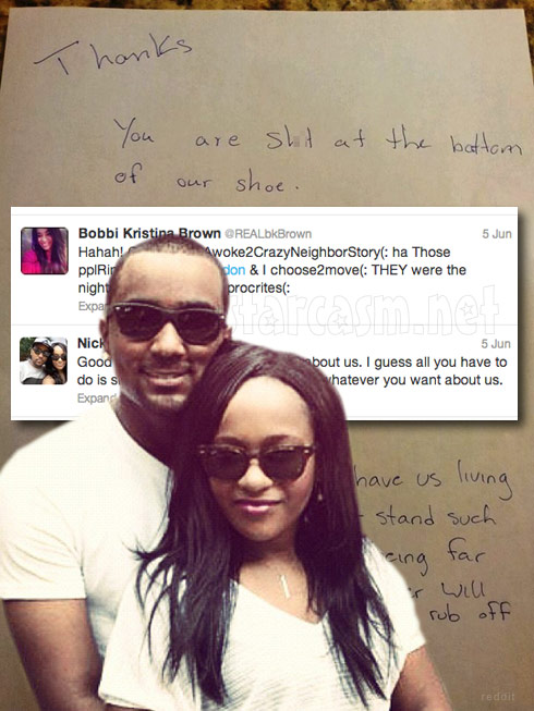 Bobbi Kristina Brown and Nick Gordon respond to eviction reports and nasty letter left for their neighbors