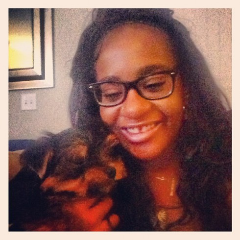 Bobbi Kristina Brown and her Yorkie dog Kyzer