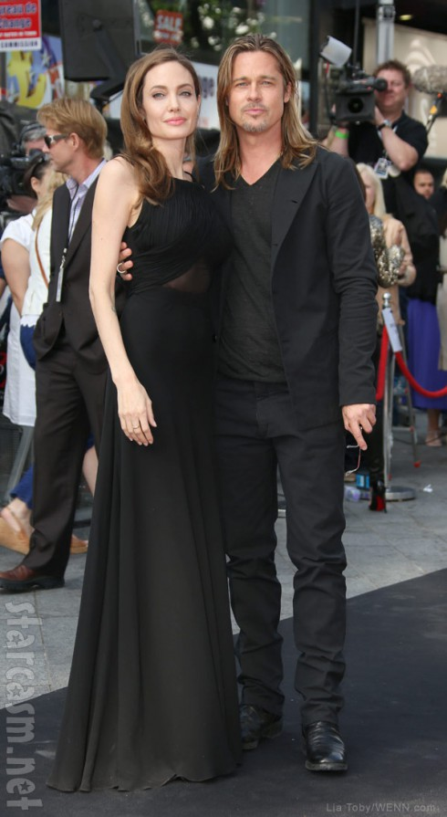 Brad Pitt and Angelina Jolie together at the World War Z Premiere after her double mastectomy