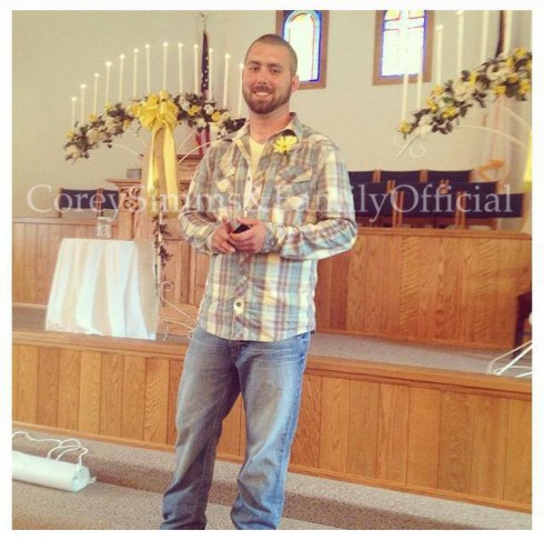 Teen Mom 2 Corey Simms wearing flannel shirt and jeans at his wedding