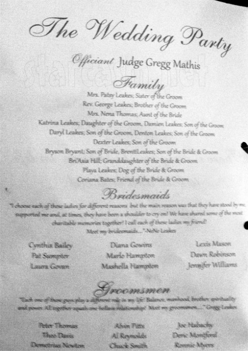 Gregg and NeNe Leakes wedding program 1