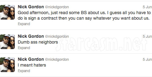 Nick Gordon tweets about his and Bogbi Kristina's reported eviction
