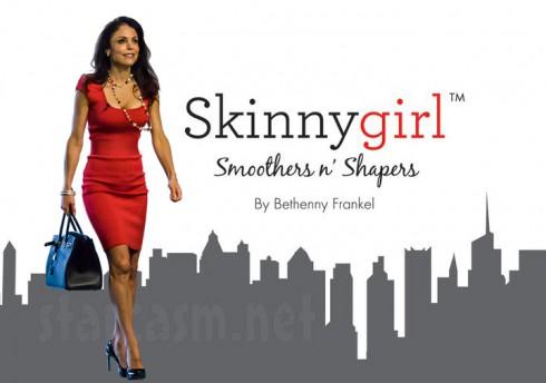 Bethenny Frankel as Skinnygirl logo in Skinny Girl red dress