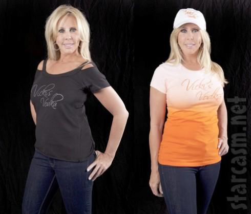 Vicki Gunvalson modeling Vicki's Vodka apparel