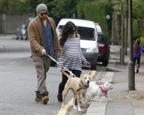 Heavily pregnant Jenna Dewan-Tatum and Channing Tatum out walking their two dogs in London, United Kingdom.