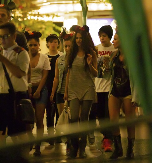 Selena Gomez spends the late evening at Disneyland with friends and members of Emblem 3 in Anaheim, California, United States.