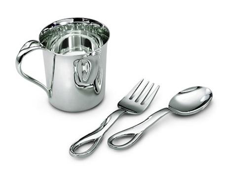 Three-piece sterling silver Elsa Peretti Padova baby set from Tiffany