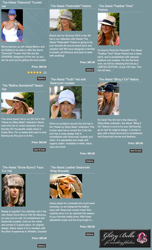 Alexis Bellino Glitzy Bella line of hats, accessories, clothes, and crystal bibles