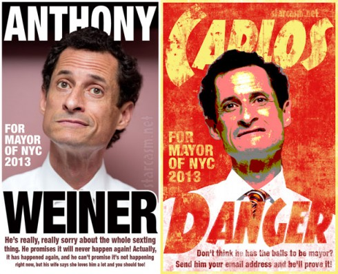 Anthony Weiner vs. Carlos Danger campaign posters