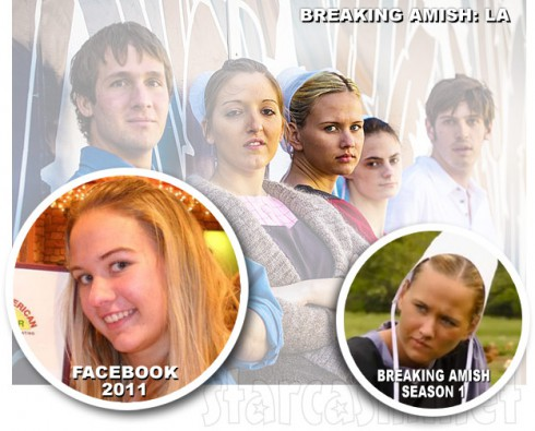 Breaking Amish LA Iva with Facebook photo and photo from Breaking Amish Season 1 as Jeremiah's girlfriend