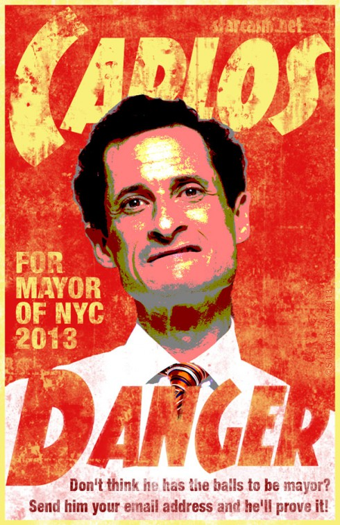 Anthony Weiner Carlos Danger campaign poster NYC mayoral race