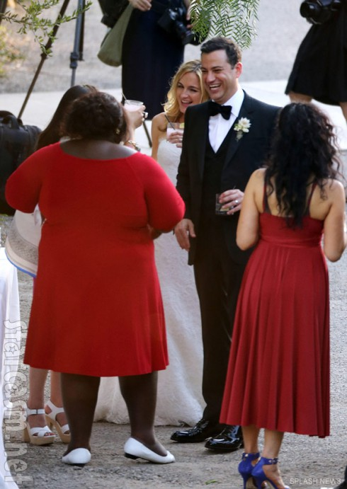 Jimmy Kimmel and bride Molly McNearney laugh with Precious actress Gabourey Sidibe about wedding prank