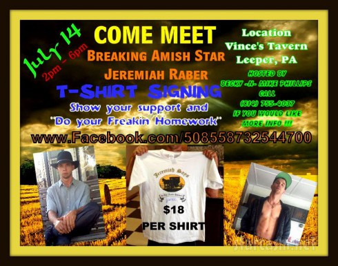 Breaking Amish Jeremiah Raber t-shirt signing appearance poster