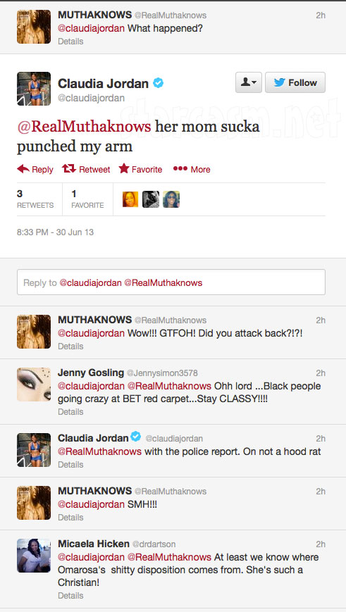 Claudia Jordan tweets about being punched by Omarosa's mom on the red carpet at the 2013 BET Awards