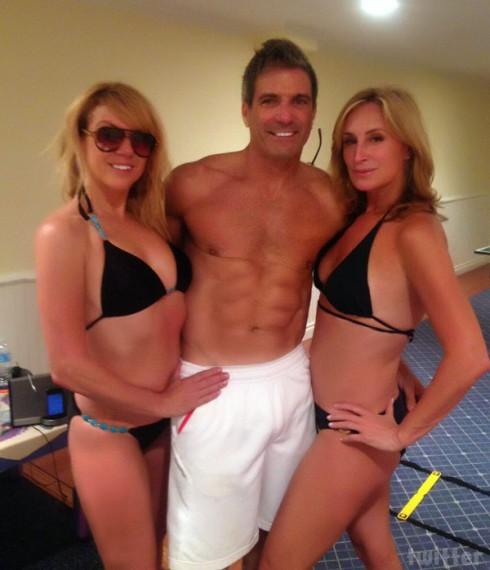 Ramona Singer and Sonja Morgan in bikinis with Mario Singer