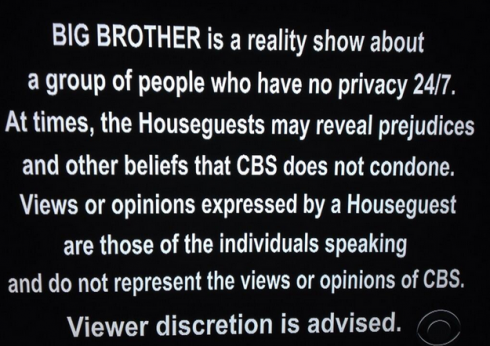 Big Brother Racist Disclaimer BB15