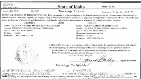 Kerry Nnamdi Asomugha and Washington marriage license