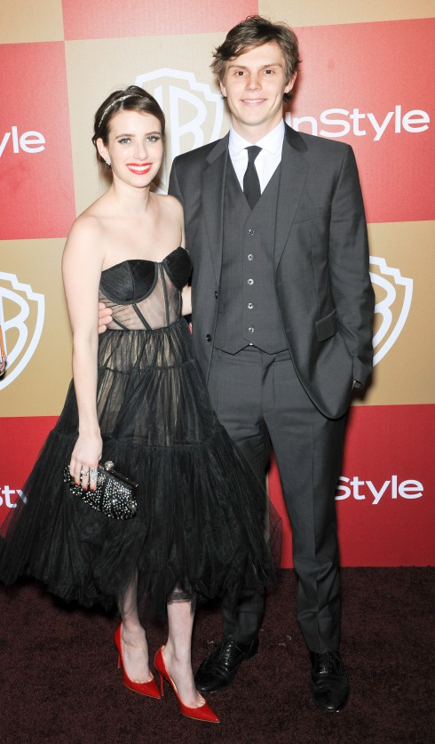 Emma Roberts and Evan Peters at the InStyle And Warner Bros. Golden Globe After Party at The Beverly Hilton Hotel in Los Angeles, California, United States.