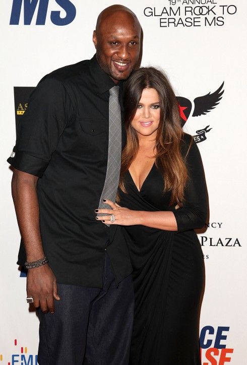 NBA player Lamar Odom and TV personality Khloe Kardashian at the 19th Annual Race to Erase MS held at the Hyatt Regency Century Plaza in Century City, California.