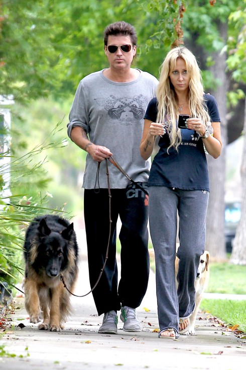 Billy Ray Cyrus and Tish Cyrus walking his dogs in Toluca Lake, Los Angeles, California.