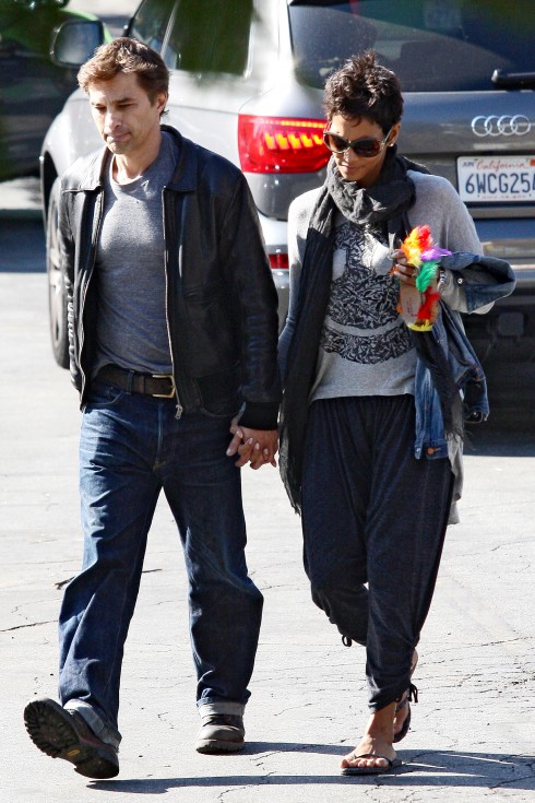 Halle Berry and her fiance Olivier Martinez seen holding hands while out and about in Los Angeles, California.