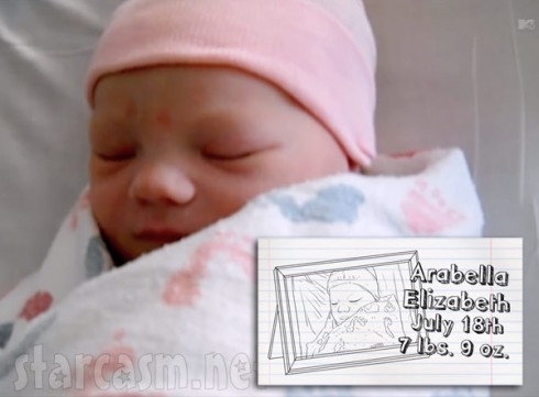 Alex Sekella's daughter Arabella the day she was born