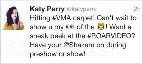 Katy Perry tweets abour Roar and VMAs