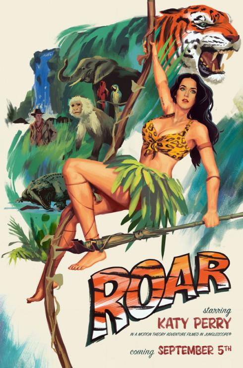 KAty Perry Tarzan Roar poster swinging from a vine