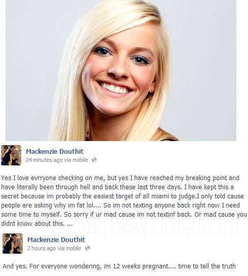 Mackenzie Douthit announces she is pregnant on Facebook