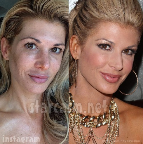 Alexis Bellino with and without makeup side-by-side photos
