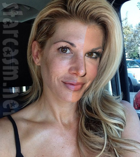 Alexi Bellino with and without makeup half and half photo
