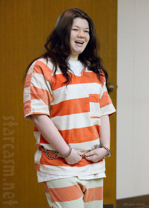 Amber Portwood in court wearing orange prison stripes