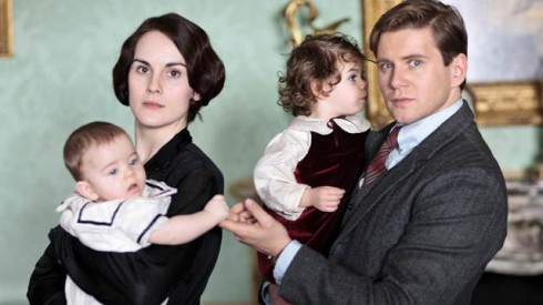 Dowton Abbey Season 4 Lady Mary Crawley and son George with Tom Branson and daughter Sybbie