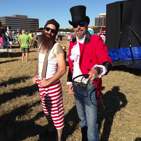 Fast N Loud's Richard Rawlings and Aaron Kaufman in flying circus costumes for Red Bull flugtag 2013