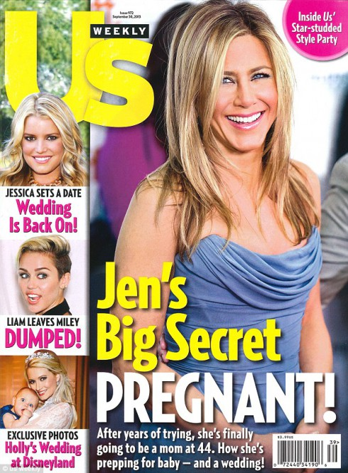Jen's big secret Pregnant Us Weekly cover claiming Jennifer Aniston is pregnant