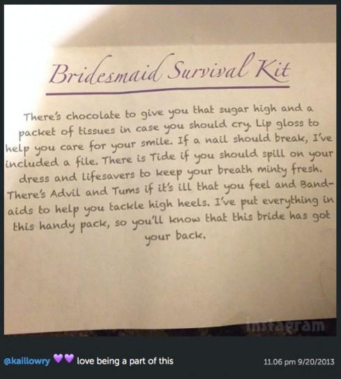 Kailyn Lowry Bridesmaid survival kit poem