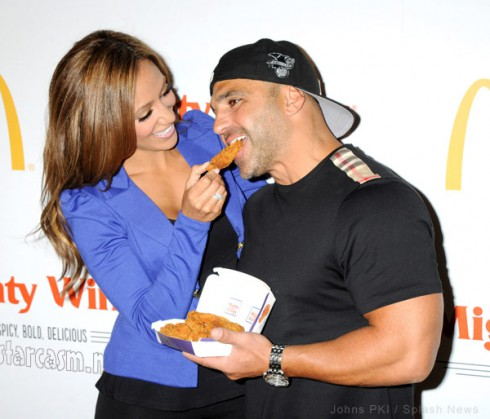 Melissa Gorga feeding Joe Gorga chicken