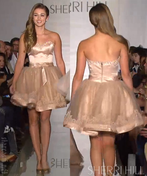 Duck Dynasty's Sadie Robertson models Sherri Hill dress on the runway at MBFW